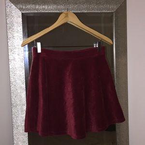 Forever 21 Burgandy Velvet Skirt